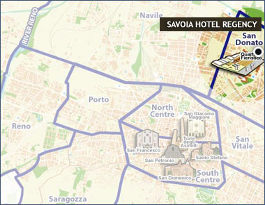 Hotels Bologna, Map